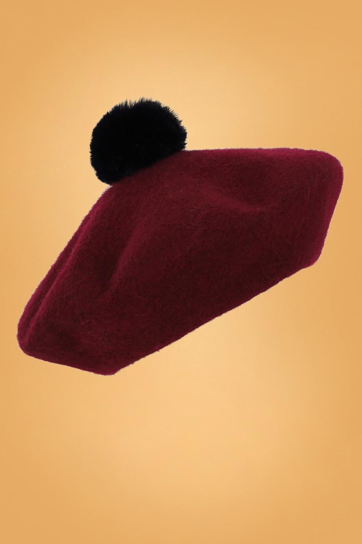 1950s Hats: Pillbox, Fascinator, Wedding, Sun Hats 60s Samantha Pom Pom Wool Beret in Burgundy £26.21 AT vintagedancer.com