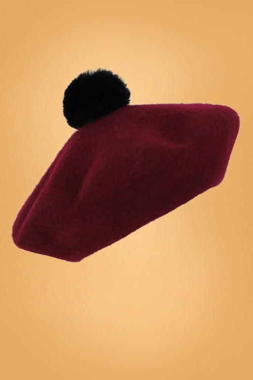 Collectif 30477 Samantha Pompon Beret in Burgundy 20190502 020LW