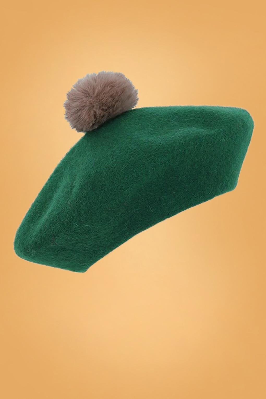 1950s Hats: Pillbox, Fascinator, Wedding, Sun Hats 60s Samantha Pom Pom Wool Beret in Green £26.21 AT vintagedancer.com