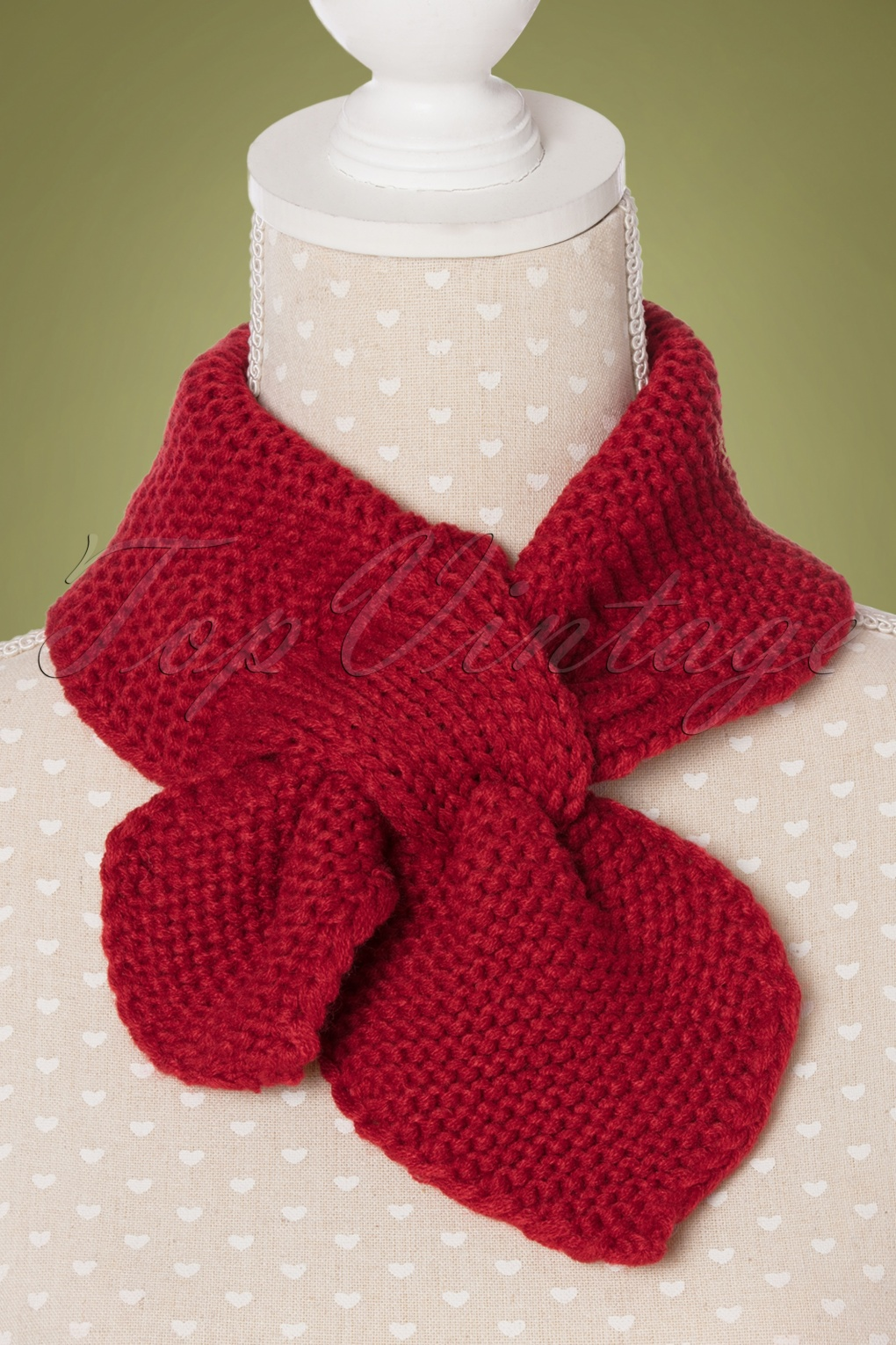 Vintage Scarf Styles -1920s to 1960s 50s Fru Fru Knitted Scarf in Red £10.46 AT vintagedancer.com