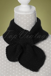 50s Fru Fru Knitted Scarf in Black