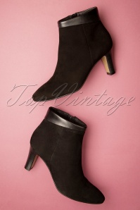 50s Deborah Suede Ankle Booties in Black