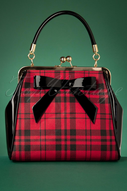Vintage Handbags, Purses, Bags *New* 50s Caraboo Tartan Bag in Black and Red £35.81 AT vintagedancer.com