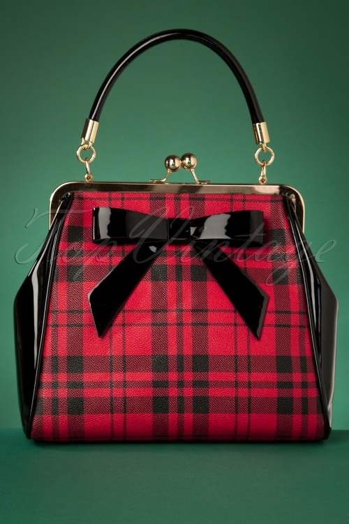 Banned 29242 50's Caraboo Houndstooth Bag In Black20190605 004W