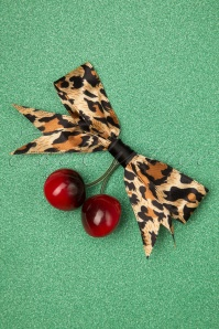 Banned noggeen Cherries Cherry Leopard Red Beige Hair Hairclip 20190604 002W