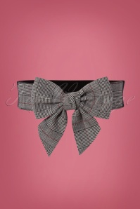 50s Emma Houndstooth Bow Belt in Black and Grey
