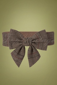 50s Emma Houndstooth Bow Belt in Brown