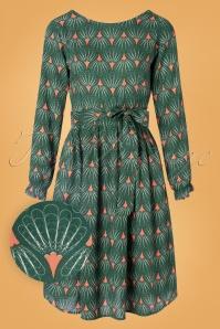 Filigran Fan Dress Années 60 en Vert