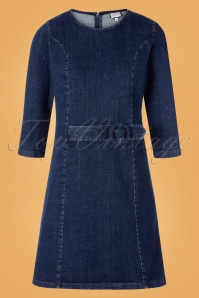 60s Long Summer Dress in Denim Navy