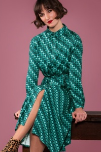 60s Wild Open Midi Dress in Petrol