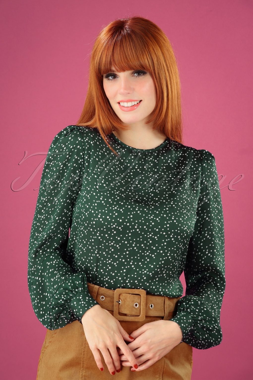 1960s Style Dresses, Clothing, Shoes UK 60s Lima Speckle Print Blouse in Green £48.09 AT vintagedancer.com