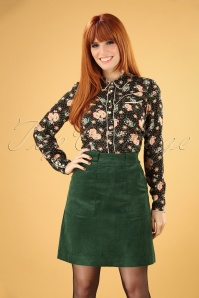 70s Kris Cord Carpenter Skirt in Green