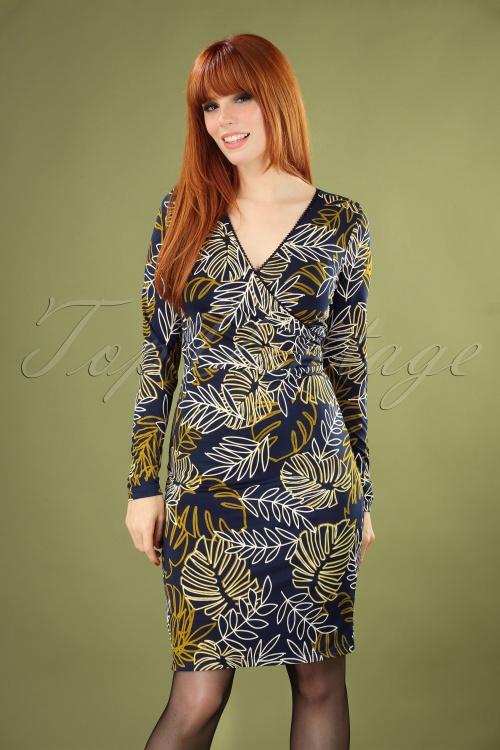 Smashed Lemon 30227 Blue Floral Pencil Dress 20190802 040MW