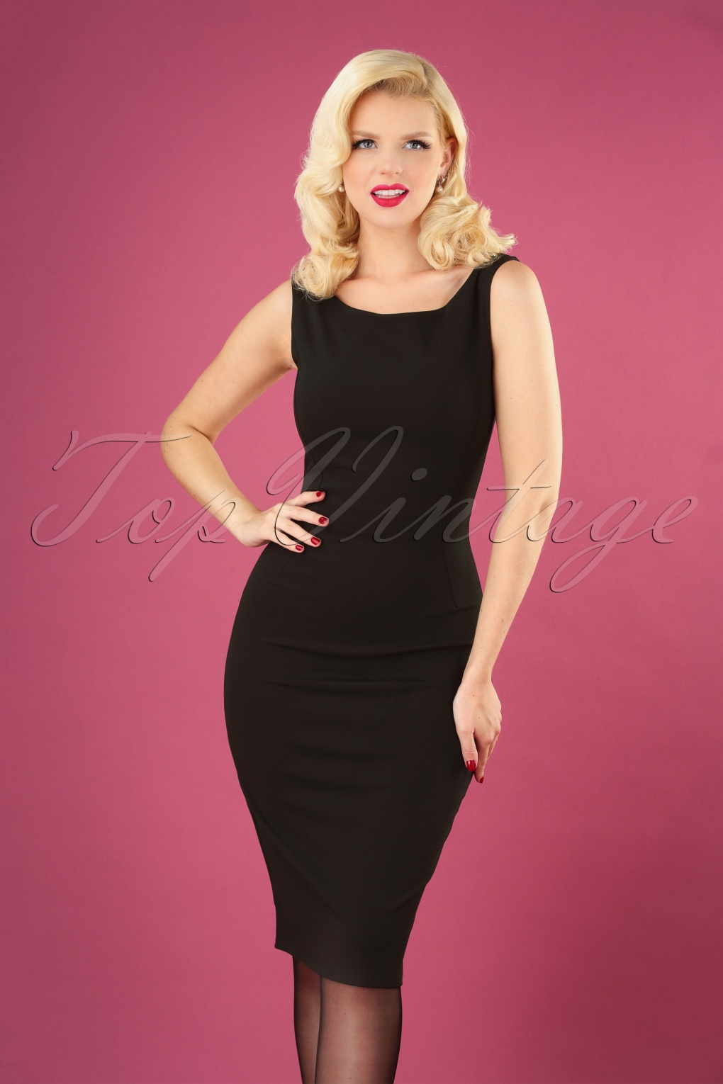Rockabilly Dresses | Rockabilly Clothing | Viva Las Vegas 50s Carina Classic Pencil Dress in Black £43.95 AT vintagedancer.com