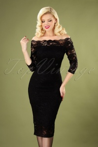 Vera Lace Pencil Dress Années 50 en Noir