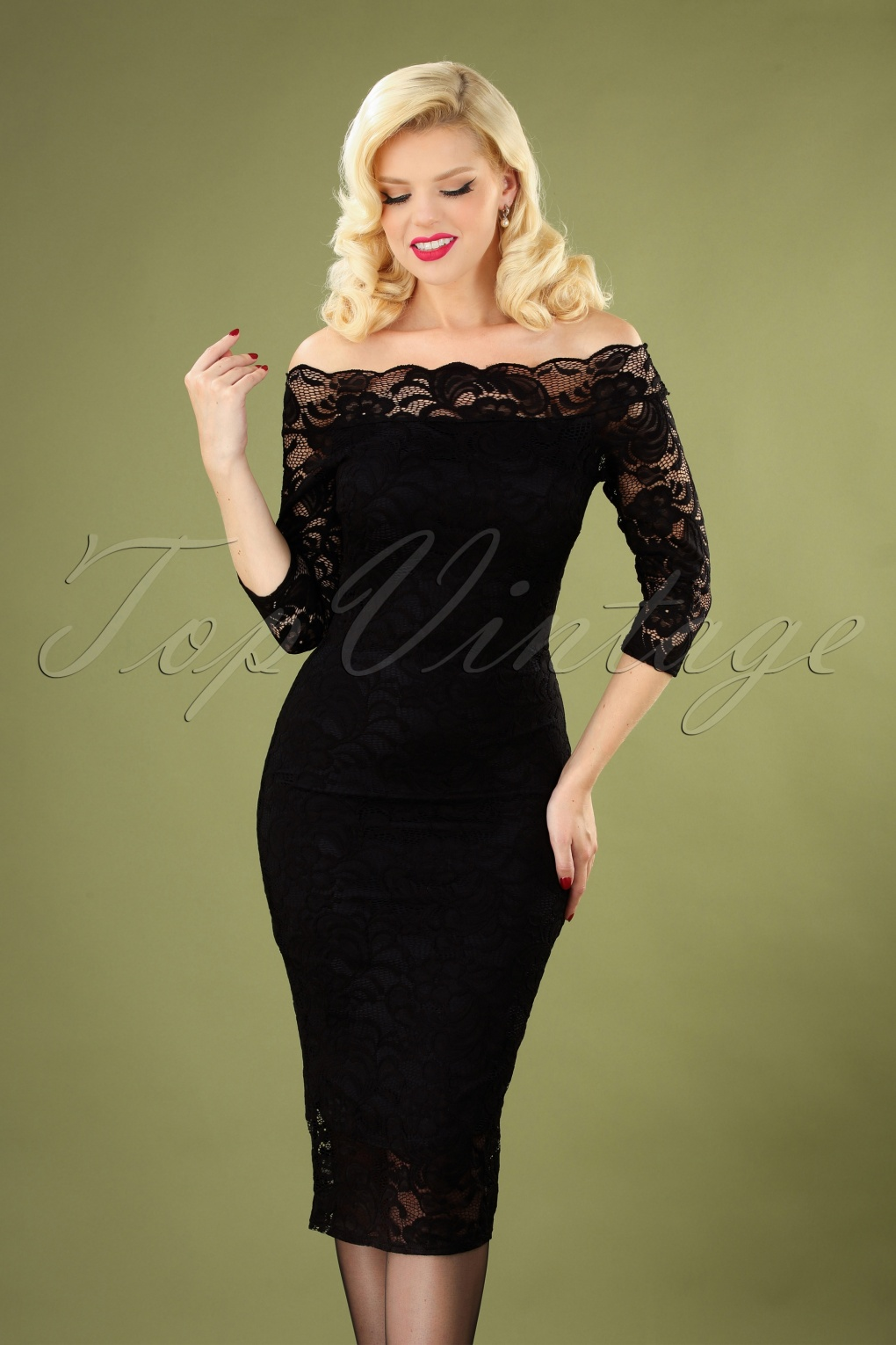 Rockabilly Dresses | Rockabilly Clothing | Viva Las Vegas 50s Vera Lace Pencil Dress in Black £48.35 AT vintagedancer.com