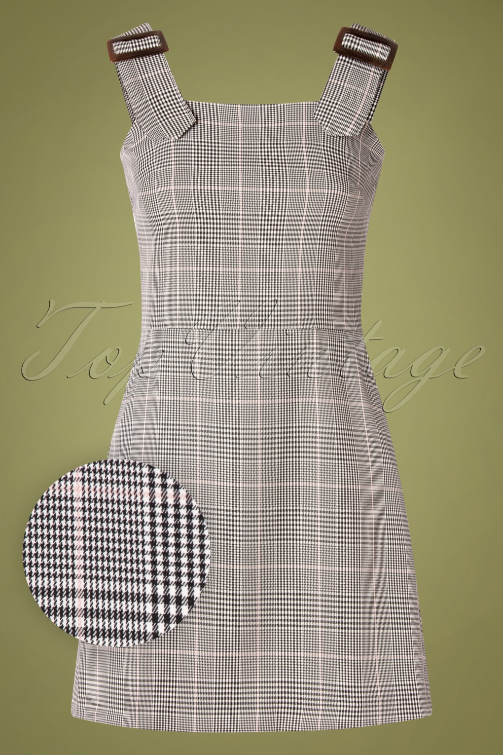 1960s Style Dresses, Clothing, Shoes UK 60s Pic Nic Pinafore Tartan Dress in Black and White £83.10 AT vintagedancer.com