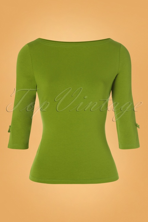 Banned 30656 50s Oonagh Top in Olive 20190626 006W
