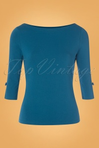50s Oonagh Top in Dark Teal Blue