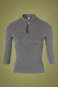 50s Mandarin Collar Peek a Boo Top in Grey