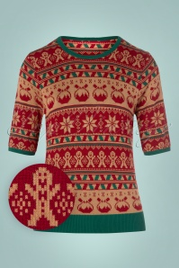 50s Holly Jumper in Red and Green