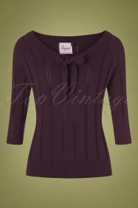 50s Belle Bow Pointelle Top in Aubergine