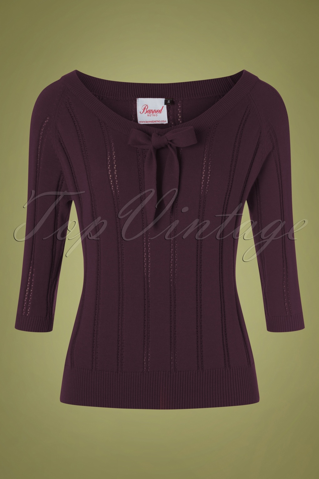 Vintage Sweaters, Retro Sweaters & Cardigan 50s Belle Bow Pointelle Top in Aubergine £28.75 AT vintagedancer.com