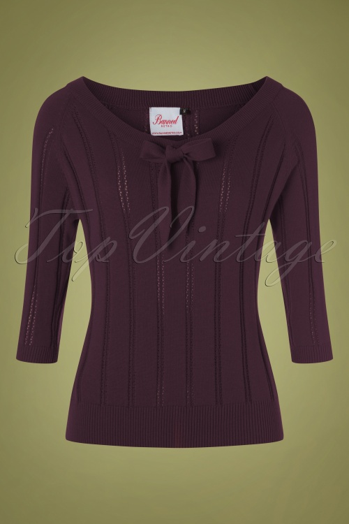 Banned 30654 Belle Bow Pointelle Top AUbergine 20190626 004W