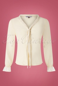 40s Ruffle Cuff Blouse in Cream