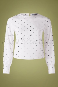 60s Boxy Dot Blouse in White