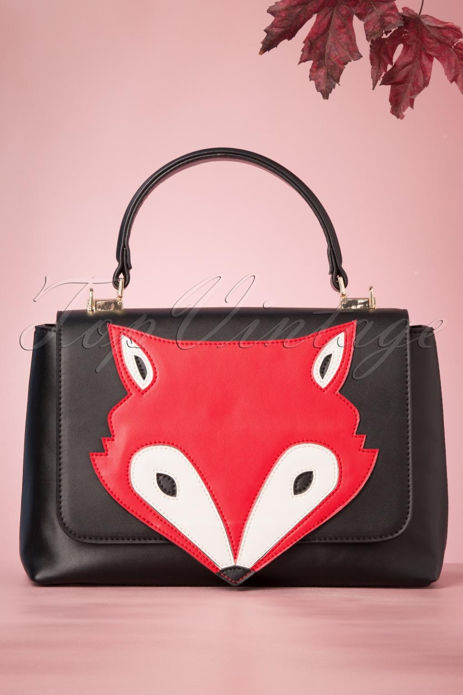 1960s Style Dresses, Clothing, Shoes UK 60s Foxy Flap Bag in Black £43.41 AT vintagedancer.com