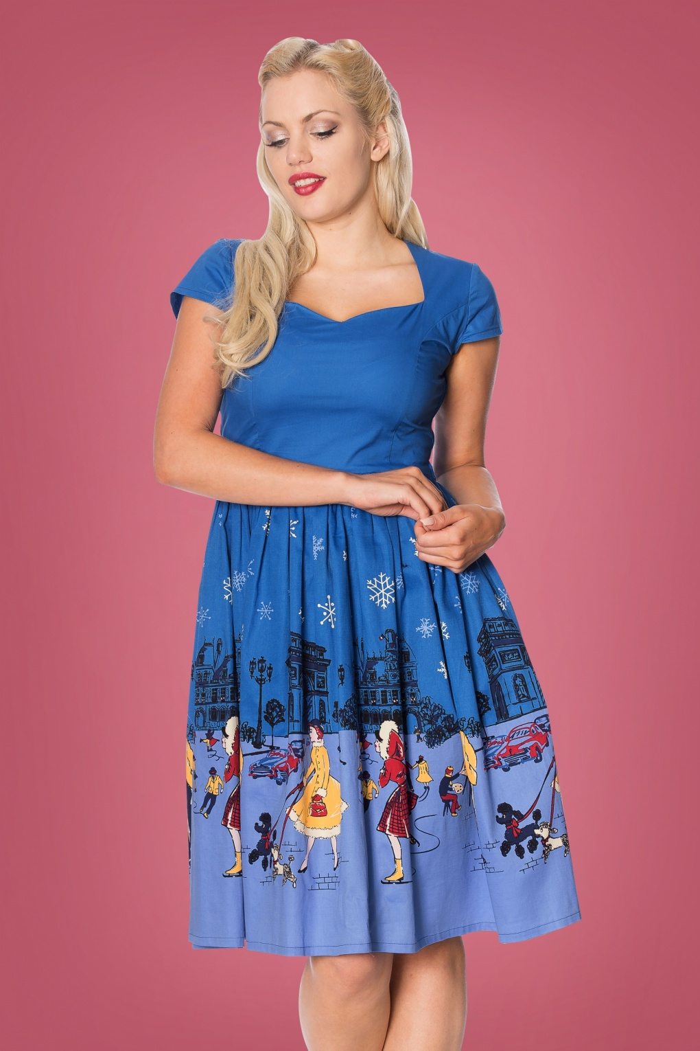 Vintage Christmas Gift Ideas for Women 50s Romance Lives Swing Dress in Blue £48.09 AT vintagedancer.com