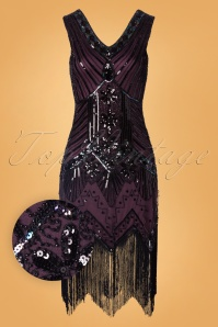 Unique Vintage 20s Veronique Fringe Flapper Dress in Metallic Purple
