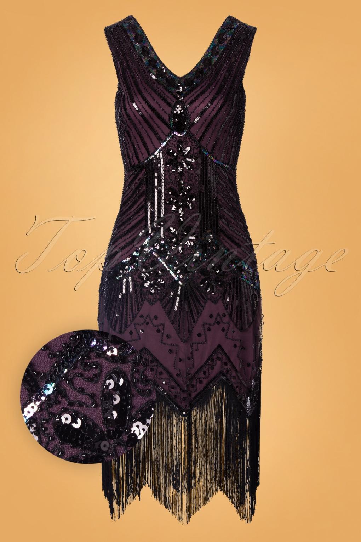 Vintage 1920s Dresses – Where to Buy 20s Veronique Fringe Flapper Dress in Metallic Purple £111.37 AT vintagedancer.com