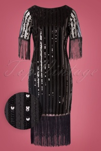Unique Vintage 20s Marcy Fringe Dress in Black