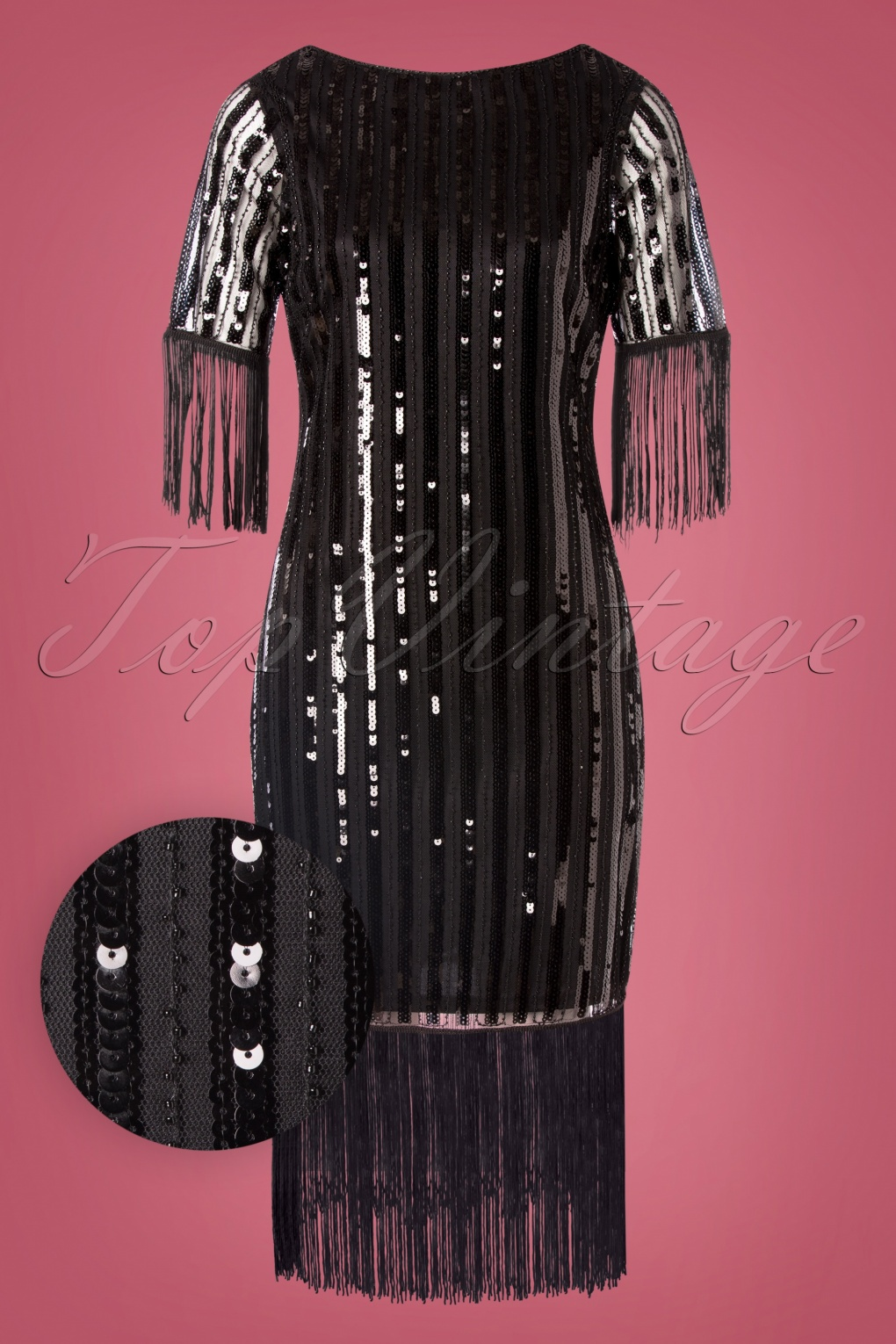 Vintage Inspired Dresses & Clothing UK 20s Marcy Fringe Dress in Black £111.37 AT vintagedancer.com