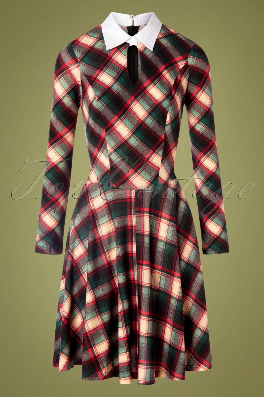 Fifties Dresses : 1950s Style Swing to Wiggle Dresses 50s Wednesday Swing Dress in Green Plaid £89.75 AT vintagedancer.com