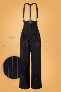 Unique Vintage 30s Thelma Pinstripe Trousers in Black