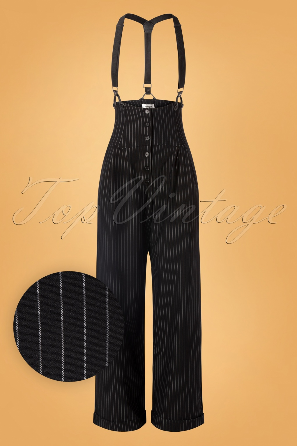 Vintage High Waisted Trousers, Sailor Pants, Jeans 30s Thelma Pinstripe Trousers in Black £107.47 AT vintagedancer.com