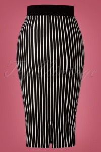 Vintage Chic 31257 Marcella Black Striped Pencil Skirt 20190827 005W