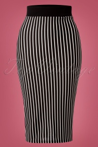 60s Jennie Striped Pencil Skirt in Black and White