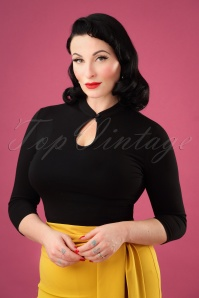 50s Mandarin Collar Peek a Boo Top in Black