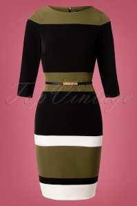 60s Callow Colour Block Pencil Dress in Green and Black