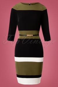 Callow Colour Block Pencil Dress Années 60 en Vert et Noir