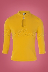 50s Mandarin Collar Peek a Boo Top in Mustard