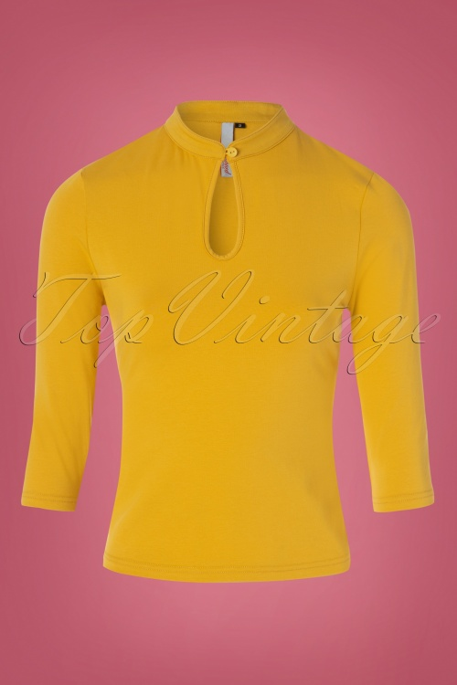 Banned 30662 Peek a boo Top in Yellow 20190516 003W