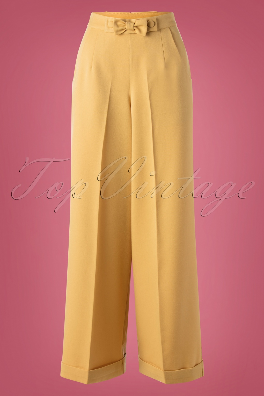 1940s Swing Pants & Sailor Trousers- Wide Leg, High Waist 40s Hidden Away Trousers in Mustard £34.96 AT vintagedancer.com