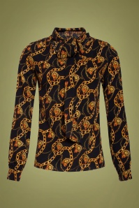 Smashed Lemon 30239 Chain Print Blouse Black Gold 20190820 021LW
