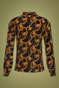 Smashed Lemon 30239 Chain Print Blouse Black Gold 20190820 020LW