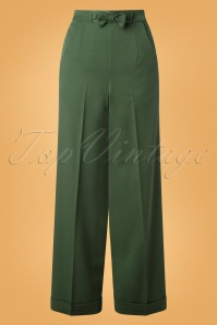 40s Hidden Away Trousers in Dark Green